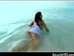 Busty Beach Babe Masturbating