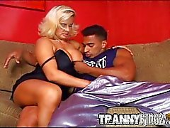 Trannies interracial threesome