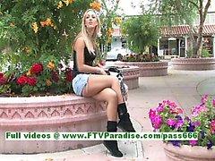 Sophia superb blonde babe public flashing tits