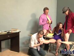 Kinky gangbang with a young Asian babe