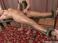 Czeck tickling - Clair Brooks laughs and moans her way to a big O