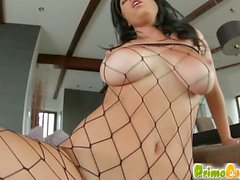 Busty Claudia Hot gets her pussy fucked until a throbbing cock unloads a torrent of sperm all over her chest