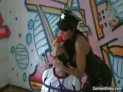 Kinky brunette hoe with big juggs tied part5