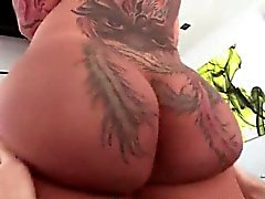 Big tattooed ass slut gets licked and toyed