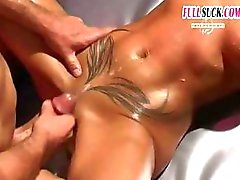 Sexy busty blonde gets oiled up and ready to fuck this guy