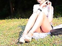 Jeny Smith bottomless at public park