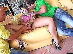 Double penetration and creampie for hot blonde