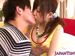 Asian pornstar Miku Airi gets her tits jizzed on