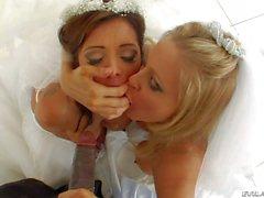 Lusty brides Francesca and Julia share black monster Cock
