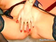 Two gorgeous mature sluts lick and fist part5
