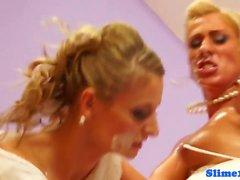 Lesbo brides riding bukkake cock at gloryhole