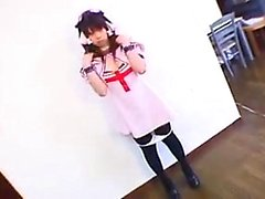 Kinky Japanese schoolgirl in stockings puts her slim body o