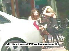 Delightful Stunning lesbians kissing in public