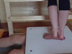 Cock and balls under foot.Footjob, crushing, foot cock massage with cumshot