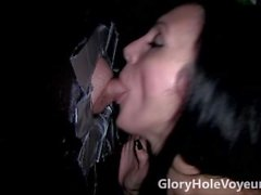 Gloryhole Sexy Brunette Sucks Small Dick
