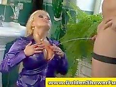 Pissing golden shower fetish couple