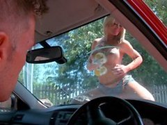 Shameless slut get naked and ready to fuck outdoors on a car