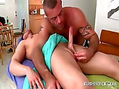 Straight dude gets dick gay sucked and rubbed