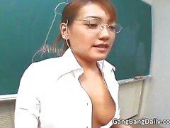 Hot asian teacher sucks cock and gets part6