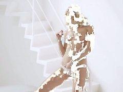 Blonde teenager in white masturbation