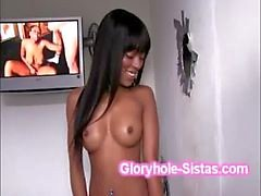 Tight ebony Tila Flame gets naughty squeezing gloryhole dick