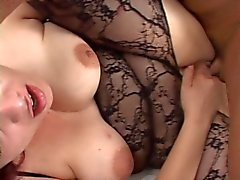 Chubby Brunette in a body stockin gets fucked with facial
