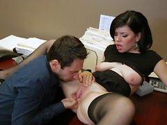 Secretary Belle Noire fucking in black stockings