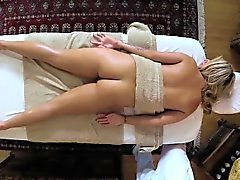 Hottie sucks masseurs rod