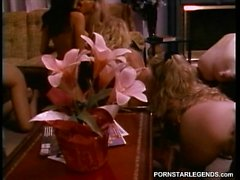 Sorority babes in lesbian sex orgy