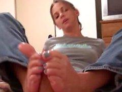 Kinky Foot Girl - Blue Toes Footjob
