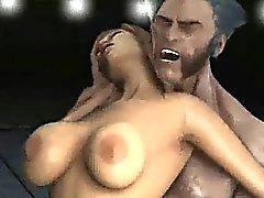 Bir busty 3D cartoon Babe Wolverine'i edenler tarafından becerdin elde