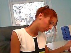 Slutty red head fucked on office desk!