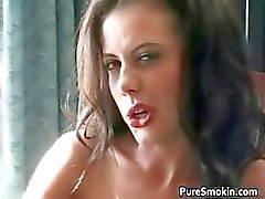 Hot sexy nasty brunette babe smokes
