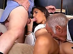 Teen Victoria Valencia Sucking Off Two Dirty Old Men At Once