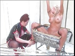 Blonde hottie licking her mistresses feet