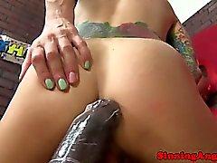 Tattooed bigtit slut fucking black cock