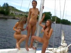Flashing and Shaving Pussies on Boat