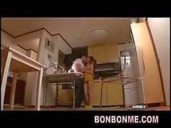 skinny milf sex with fat man in kitchen