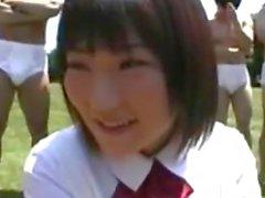 Cute Asian In An Outdoor Gangbang