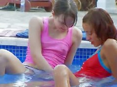 glamorous pool masturbation of friends