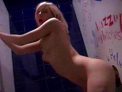 Hot blond fucked in bathroom