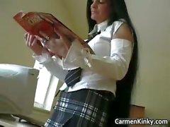 Kinky school teacher Carmen play weird part1