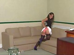 Brunette Jess West is posing and gets spanked by an old dude