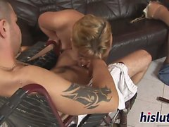 Handicapped MILF rides on a big dick