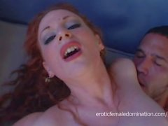 Redhead in red lingerie penetrated by a fat monster cock