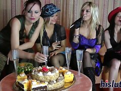 Hardcore sex party with attractive lesbian babes