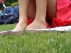 Sexy Oxford University red lace panty upskirt