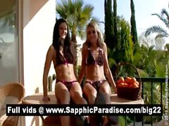 Hot brunette and blonde lesbians licking and fingering pussy and having lesbian sex