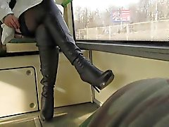 Flsshing stockings in a bus