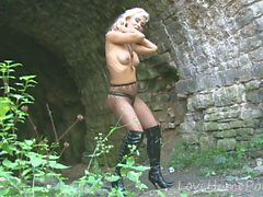 An outdoor session with a naughty blonde girl